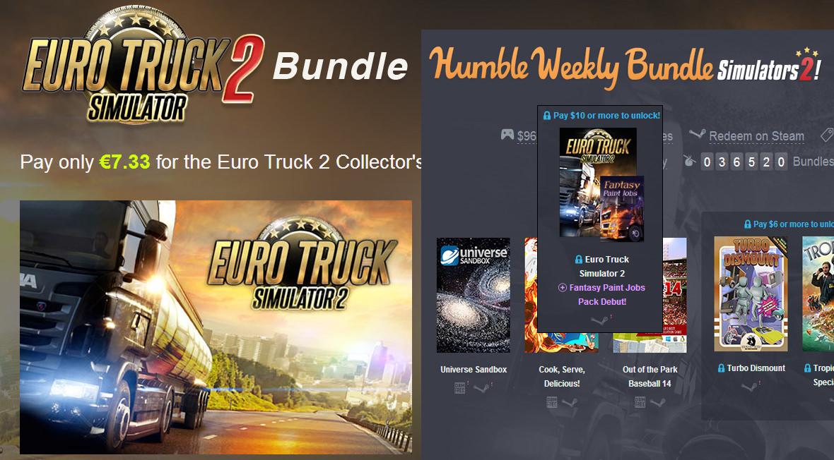 Доступные бандлы с Euro Truck Simulator 2 + эксклюзивный пак раскрасок