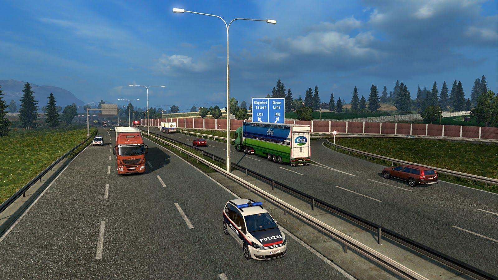 Полицейские машины в трафике ETS 2 в обновлении 1.27