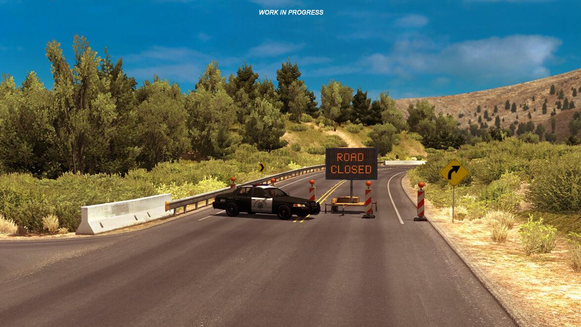 American Truck Simulator: перекрытие части шоссе Калифорния 1
