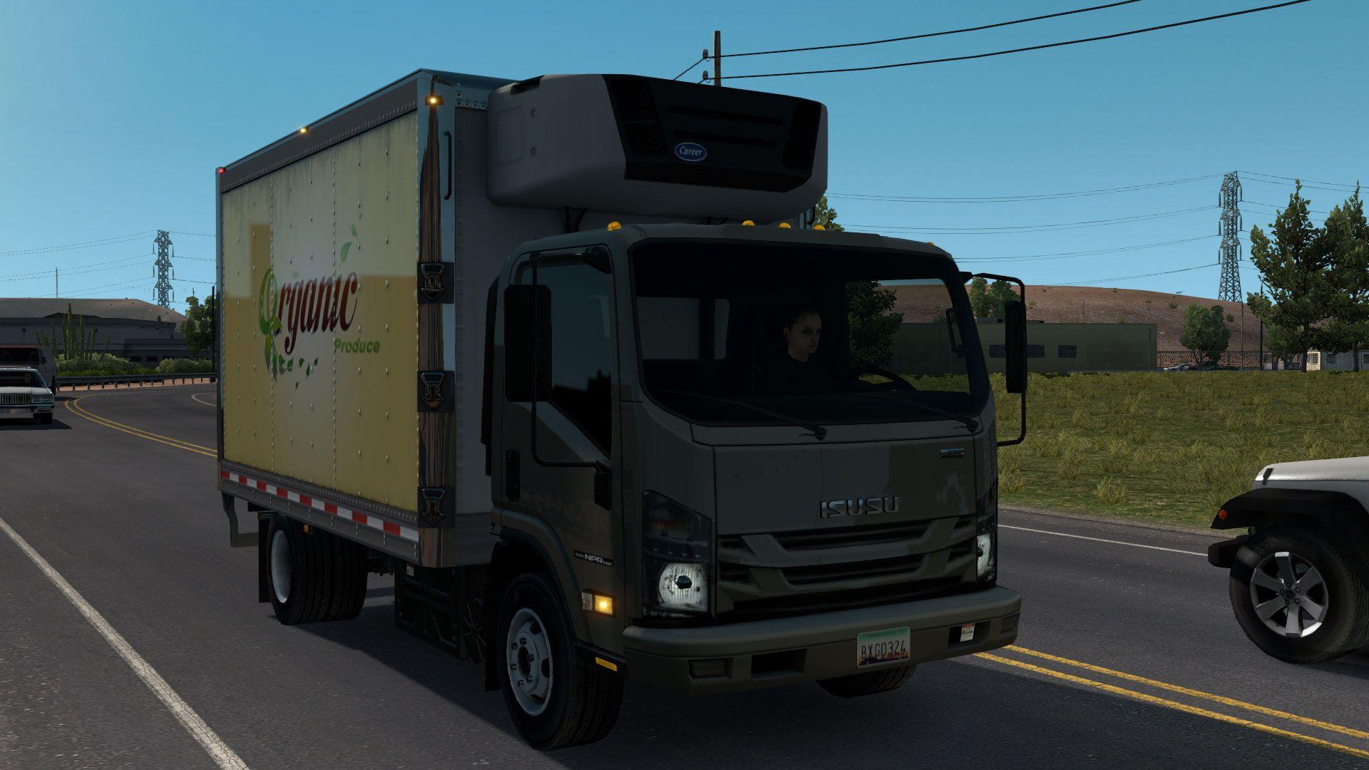 Cреднетонажный грузовик в трафике American Truck Simulator (что-то похожее на Isuzu)