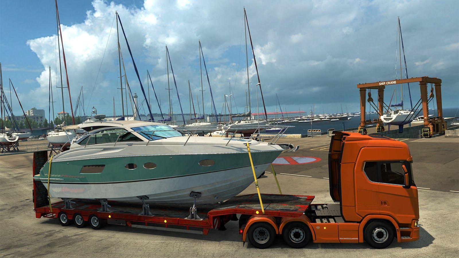 Новый полуприцеп для перевозки роскошных яхт из обновления ETS 2 1.30