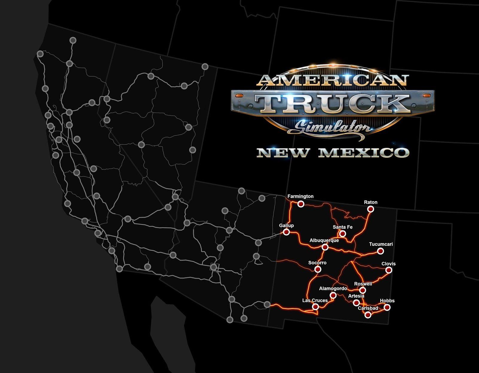 Карта American Truck Simulator с DLC New Mexico