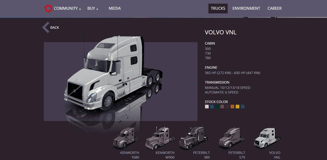 American Truck Simulator: ещё немного информации о тягаче Volvo VNL