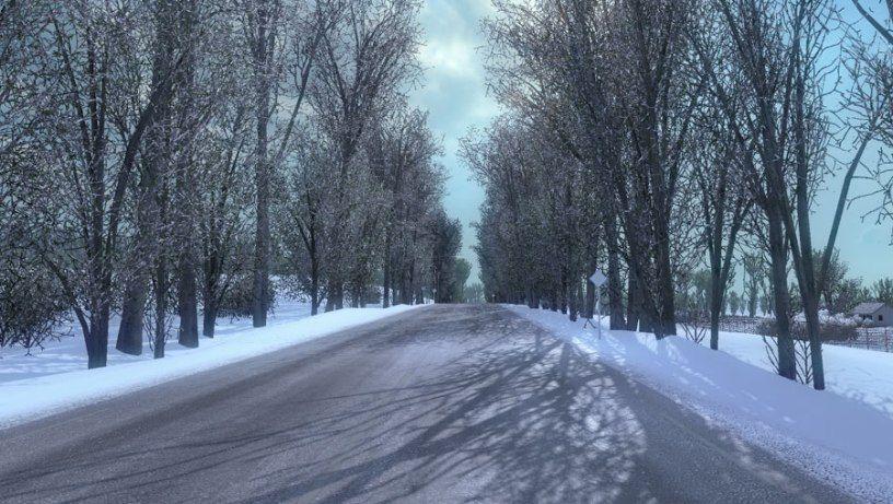В Truckers MP добавили поддержку зимы